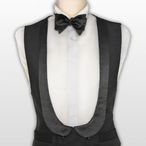 A Marcella double breasted waistcoat with a U shaped neck line with a satin shawl spoon shaped collar