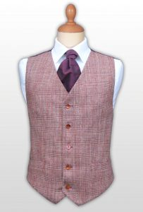 Mr prince of Wales style waistcoat in burgundy and tangerine, front view