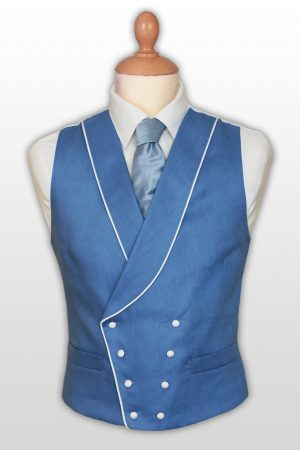 double breasted traditional linen waistcoat with a shawl collar